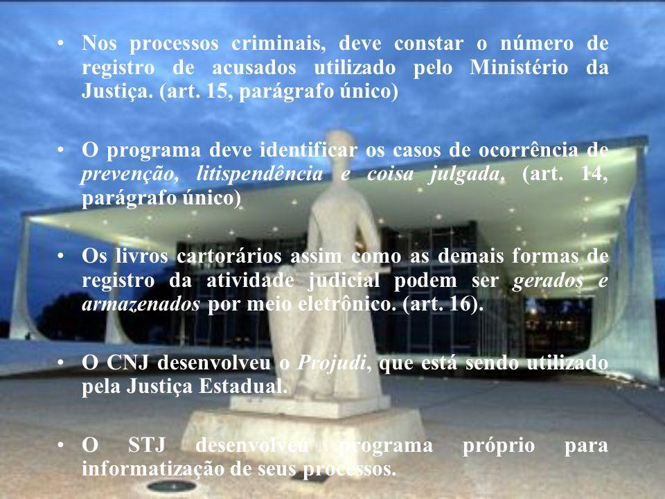 Nos processos criminais, deve constar o número de registro de acusados utilizado pelo Ministério da Justiça. (art. 15, parágrafo único) O programa dev