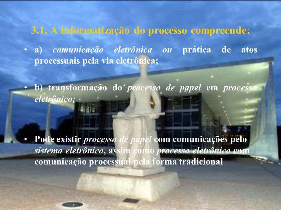 3.1. A informatização do processo compreende: a) comunicação eletrônica ou prática de atos processuais pela via eletrônica; b) transformação do proces