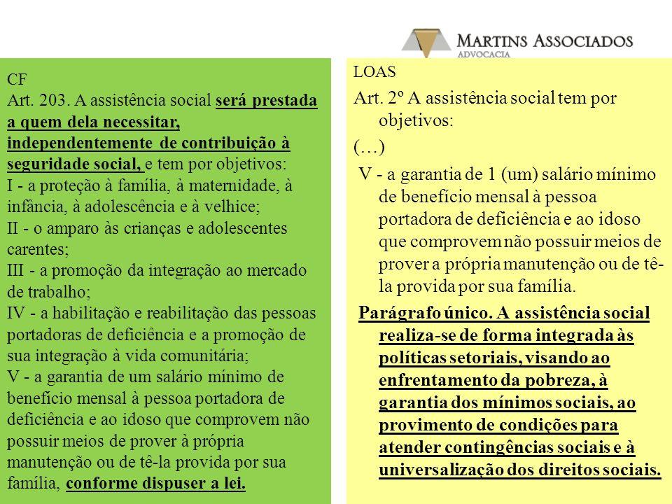 CF - Art. 203. A assistência social será prestada a quem dela necessitar, independentemente de contribuição à seguridade social, e tem por objetivos: