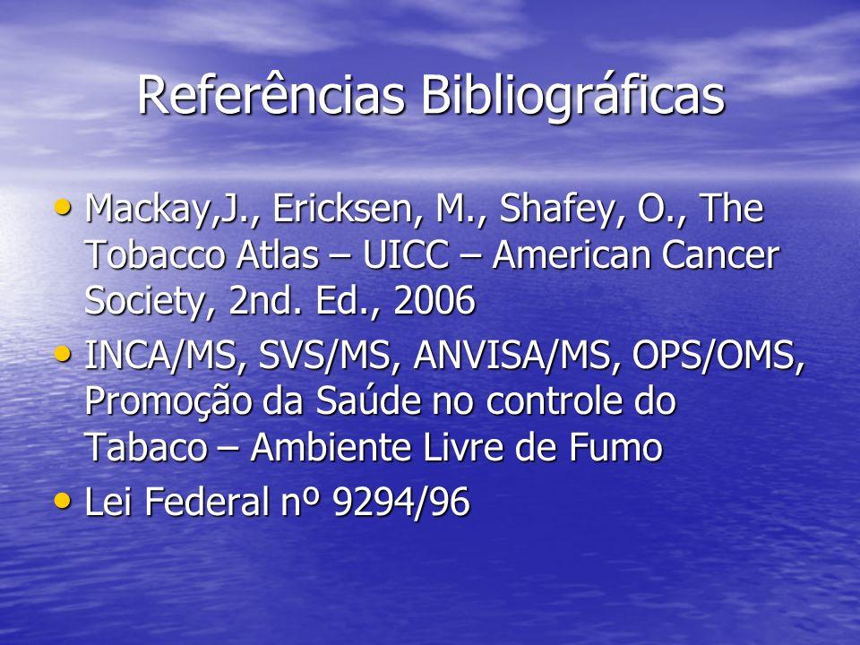 Referências Bibliográficas Mackay,J., Ericksen, M., Shafey, O., The Tobacco Atlas – UICC – American Cancer Society, 2nd. Ed., 2006 Mackay,J., Ericksen