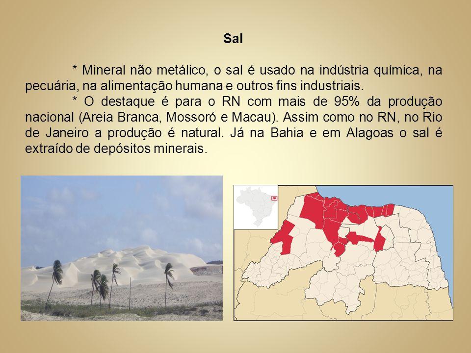 Sal * Mineral não metálico, o sal é usado na indústria química, na pecuária, na alimentação humana e outros fins industriais. * O destaque é para o RN
