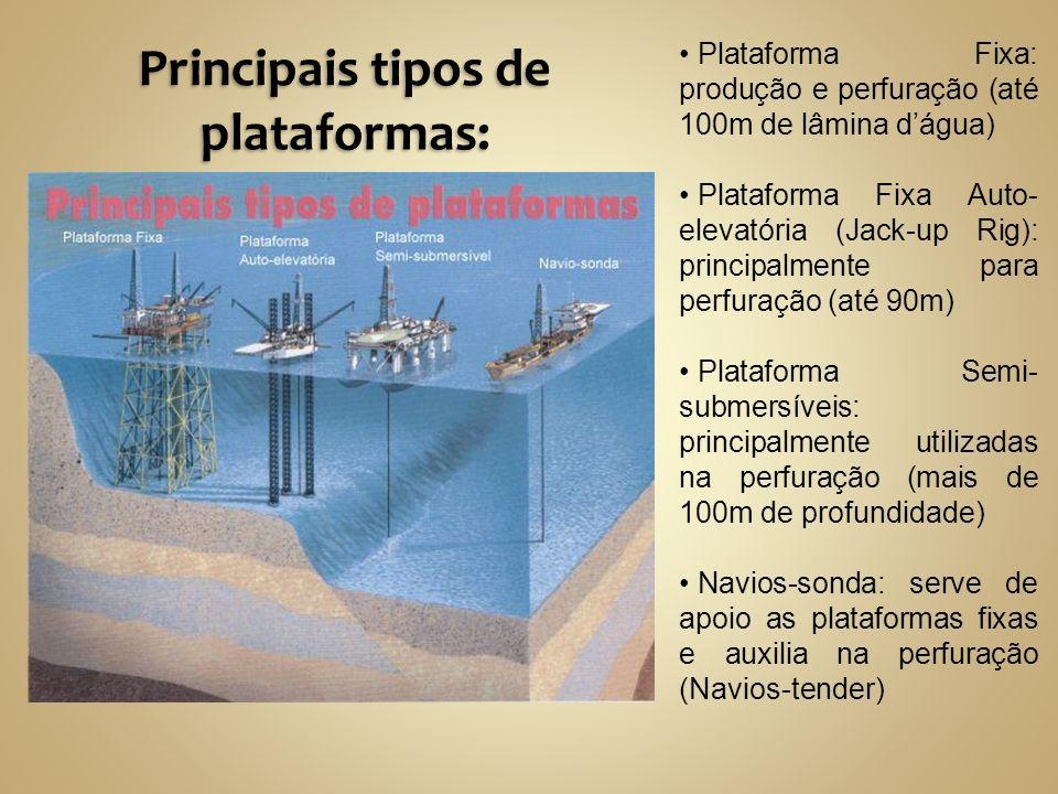 Plataforma Fixa: produção e perfuração (até 100m de lâmina dágua) Plataforma Fixa Auto- elevatória (Jack-up Rig): principalmente para perfuração (até