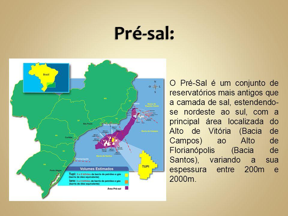 O Pré-Sal é um conjunto de reservatórios mais antigos que a camada de sal, estendendo- se nordeste ao sul, com a principal área localizada do Alto de