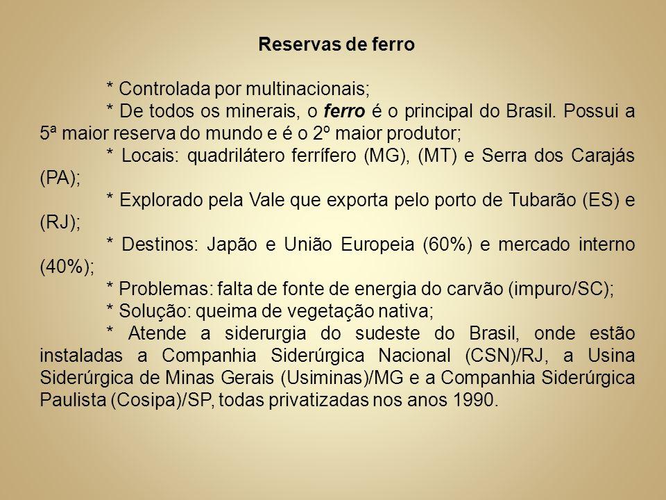 Reservas de ferro * Controlada por multinacionais; * De todos os minerais, o ferro é o principal do Brasil. Possui a 5ª maior reserva do mundo e é o 2