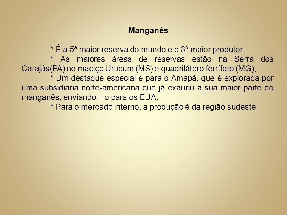 Manganês * É a 5ª maior reserva do mundo e o 3º maior produtor; * As maiores áreas de reservas estão na Serra dos Carajás(PA) no maciço Urucum (MS) e