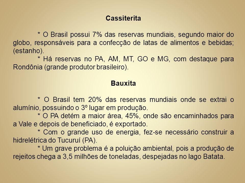 Cassiterita * O Brasil possui 7% das reservas mundiais, segundo maior do globo, responsáveis para a confecção de latas de alimentos e bebidas; (estanh