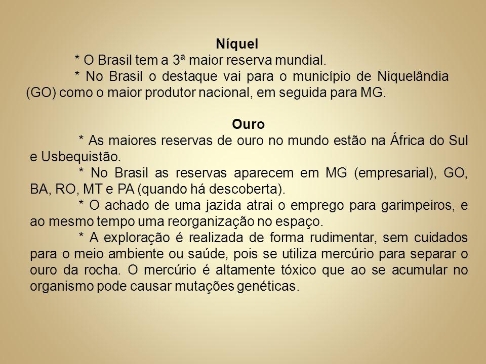 Níquel * O Brasil tem a 3ª maior reserva mundial. * No Brasil o destaque vai para o município de Niquelândia (GO) como o maior produtor nacional, em s