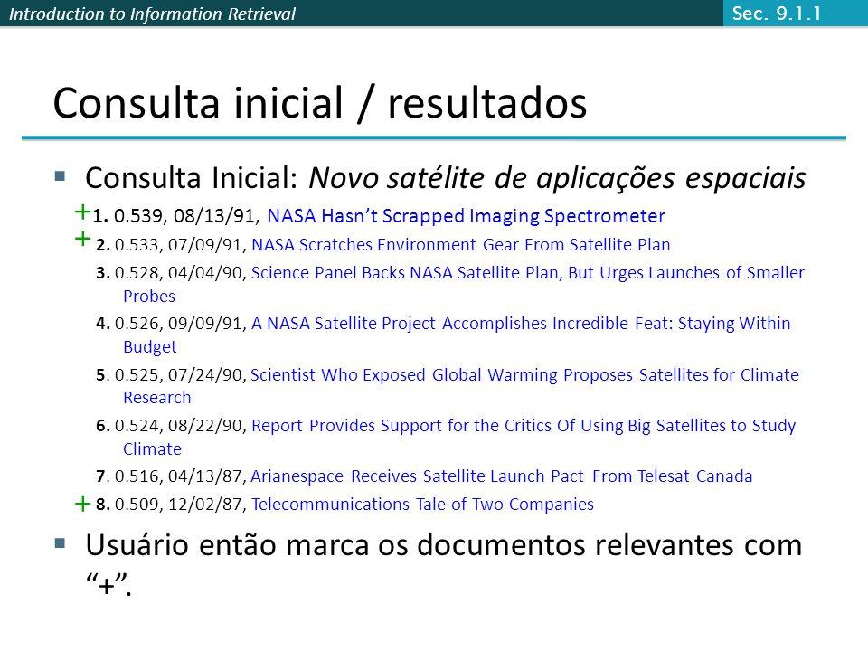 Introduction to Information Retrieval Consulta inicial / resultados Consulta Inicial: Novo satélite de aplicações espaciais 1. 0.539, 08/13/91, NASA H