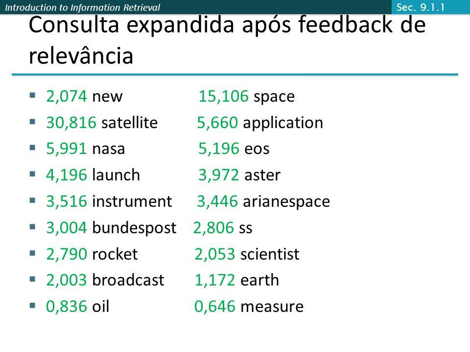 Introduction to Information Retrieval Consulta expandida após feedback de relevância 2,074 new 15,106 space 30,816 satellite 5,660 application 5,991 n