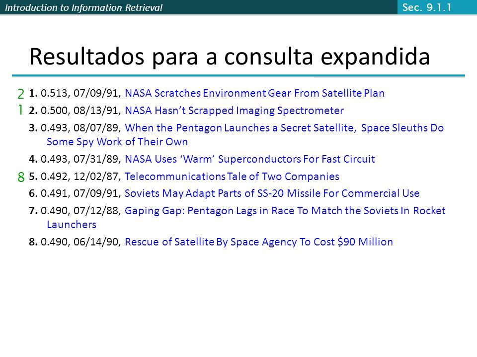 Introduction to Information Retrieval Resultados para a consulta expandida 1. 0.513, 07/09/91, NASA Scratches Environment Gear From Satellite Plan 2.