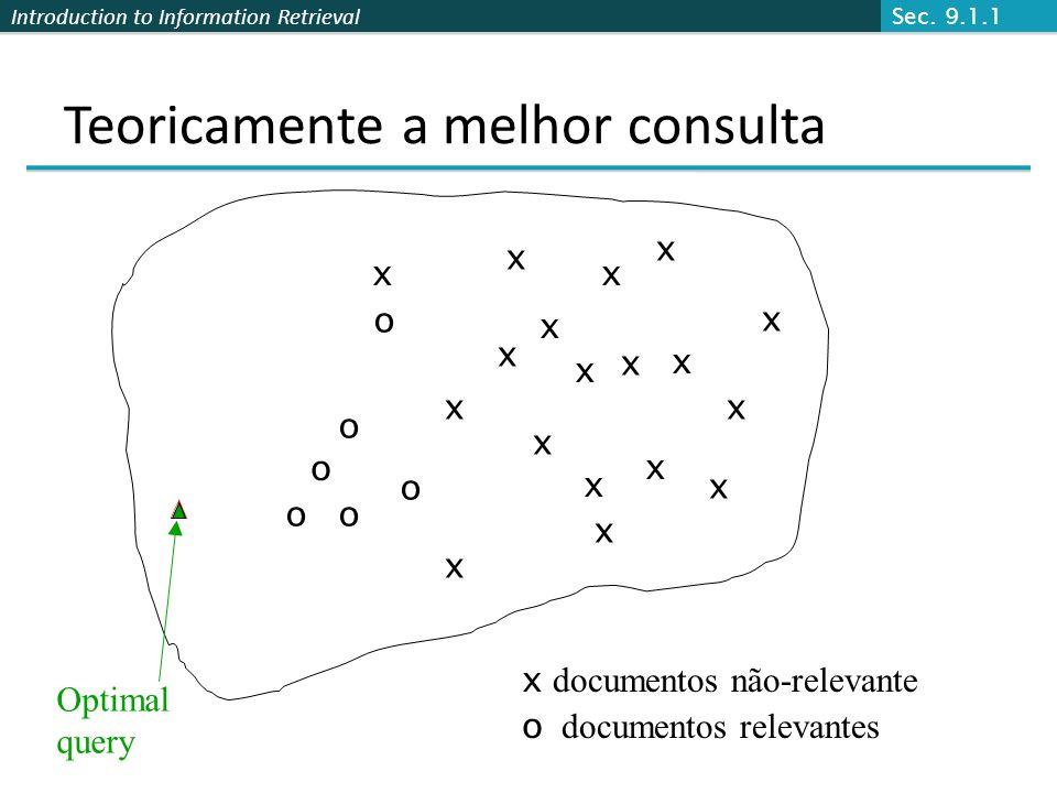 Introduction to Information Retrieval Teoricamente a melhor consulta x x x x o o o Optimal query x documentos não-relevante o documentos relevantes o