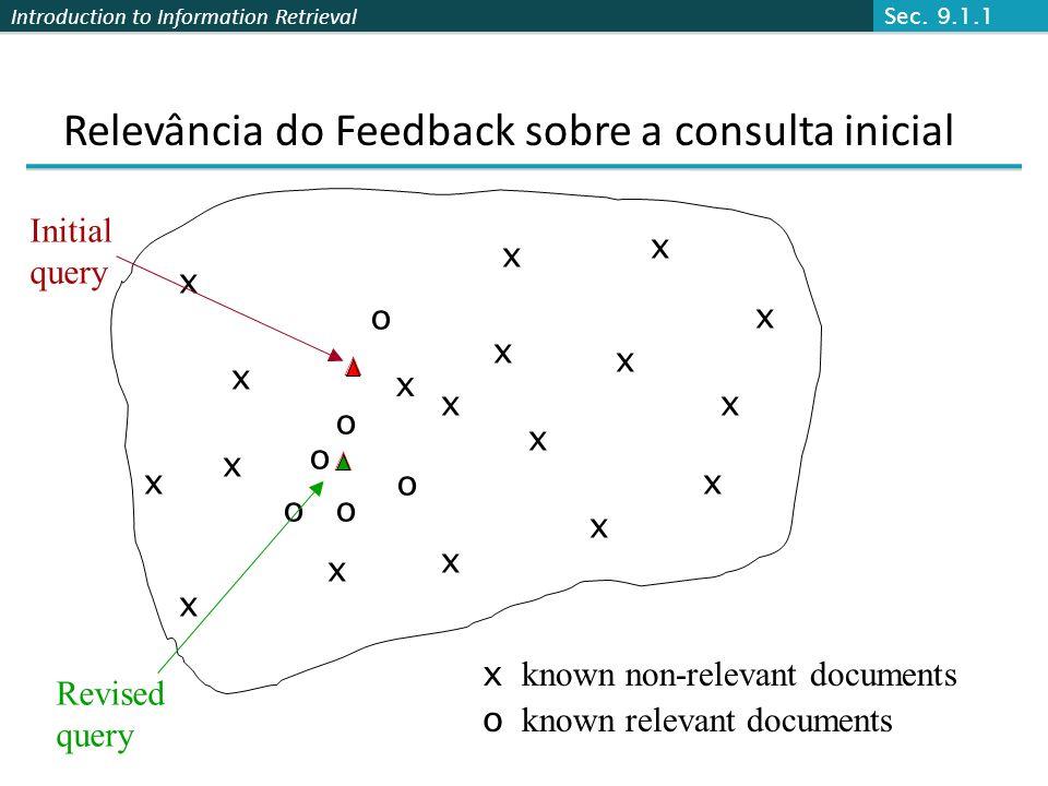 Introduction to Information Retrieval Relevância do Feedback sobre a consulta inicial x x x x o o o Revised query x known non-relevant documents o kno