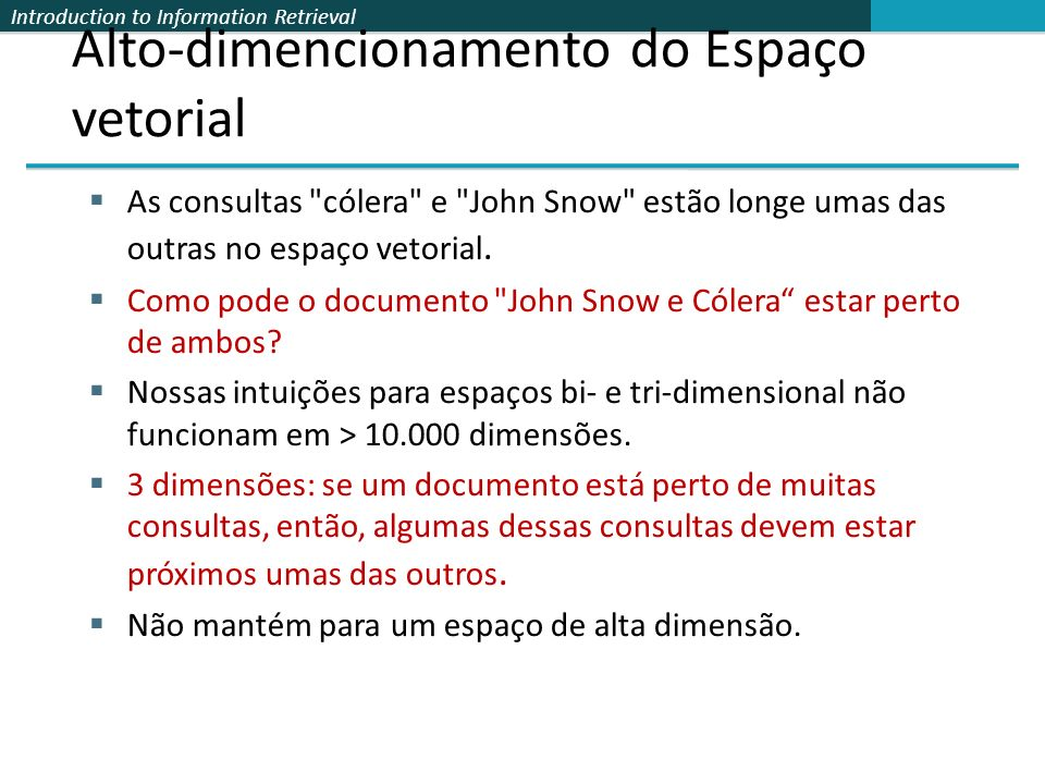 Introduction to Information Retrieval Alto-dimencionamento do Espaço vetorial As consultas