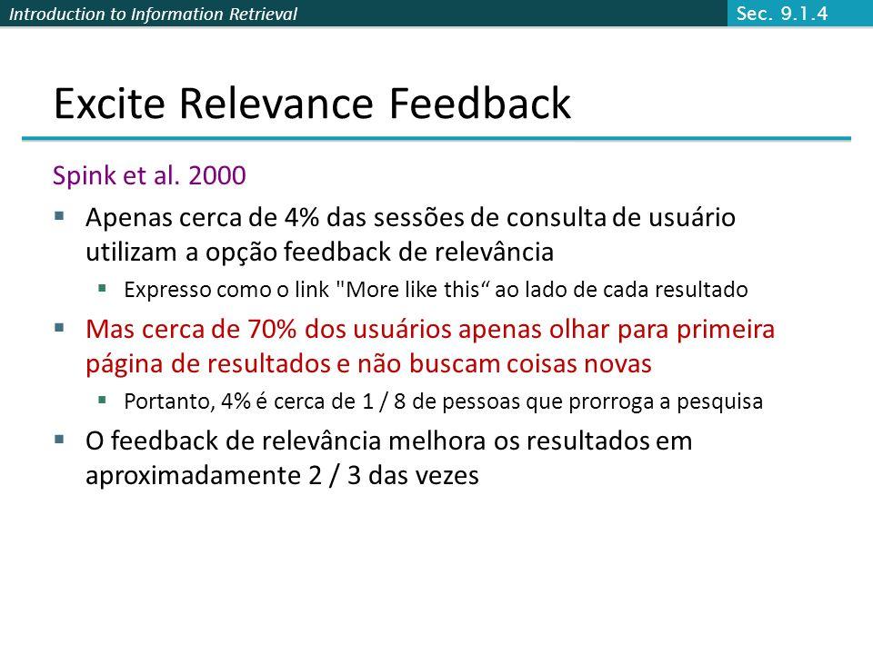Introduction to Information Retrieval Excite Relevance Feedback Spink et al. 2000 Apenas cerca de 4% das sessões de consulta de usuário utilizam a opç