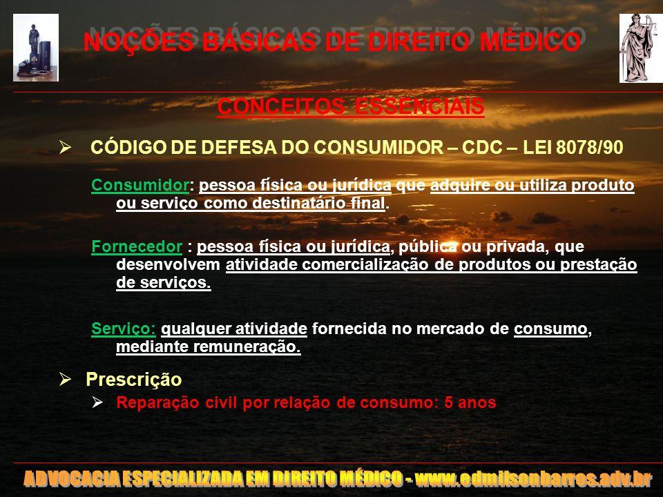 11 NOÇÕES BÁSICAS DE DIREITO MÉDICO CONCEITOS ESSENCIAIS CÓDIGO DE DEFESA DO CONSUMIDOR – CDC – LEI 8078/90 Consumidor: pessoa física ou jurídica que