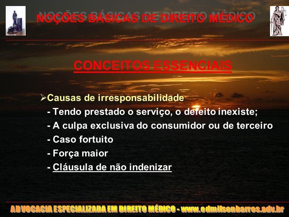 13 NOÇÕES BÁSICAS DE DIREITO MÉDICO CONCEITOS ESSENCIAIS Causas de irresponsabilidade - Tendo prestado o serviço, o defeito inexiste; - A culpa exclus