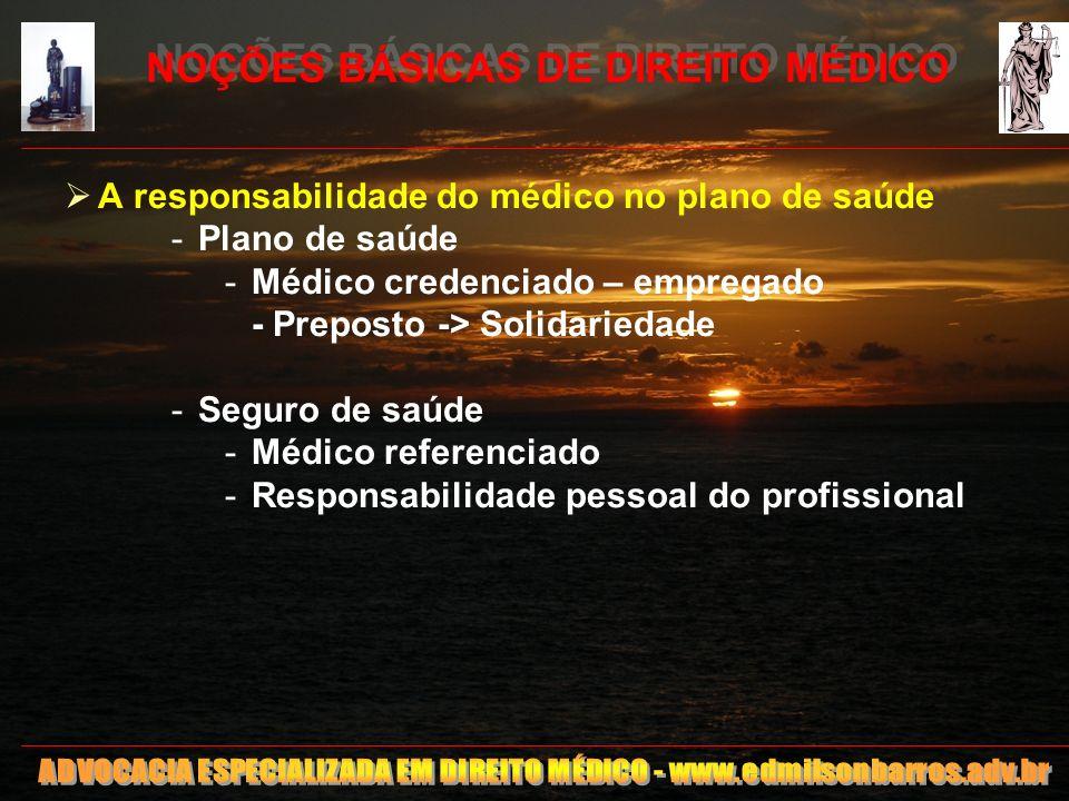 NOÇÕES BÁSICAS DE DIREITO MÉDICO A responsabilidade do médico no plano de saúde -Plano de saúde -Médico credenciado – empregado - Preposto -> Solidari