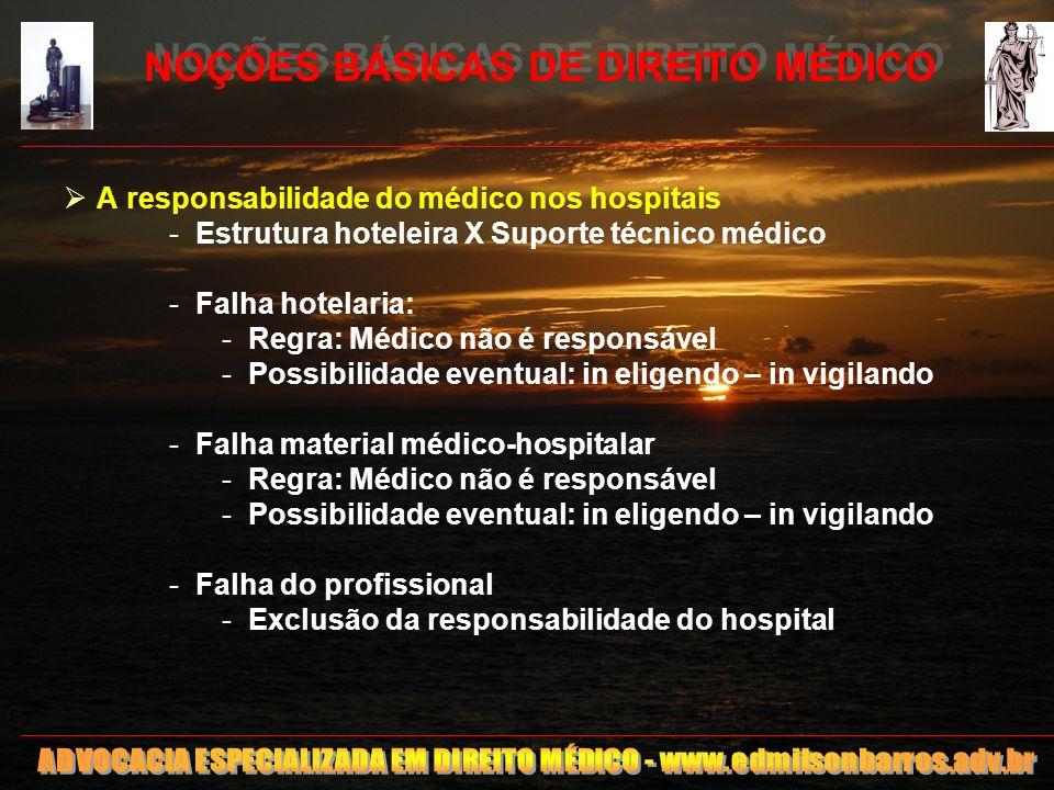 NOÇÕES BÁSICAS DE DIREITO MÉDICO A responsabilidade do médico nos hospitais -Estrutura hoteleira X Suporte técnico médico -Falha hotelaria: -Regra: Mé