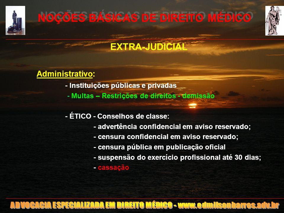 5 NOÇÕES BÁSICAS DE DIREITO MÉDICO EXTRA-JUDICIAL Administrativo: - Instituições públicas e privadas - Multas – Restrições de direitos - demissão - ÉT