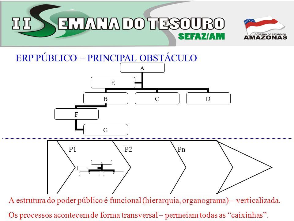 ERP PÚBLICO – PRINCIPAL OBSTÁCULO A estrutura do poder público é funcional (hierarquia, organograma) – verticalizada. Os processos acontecem de forma