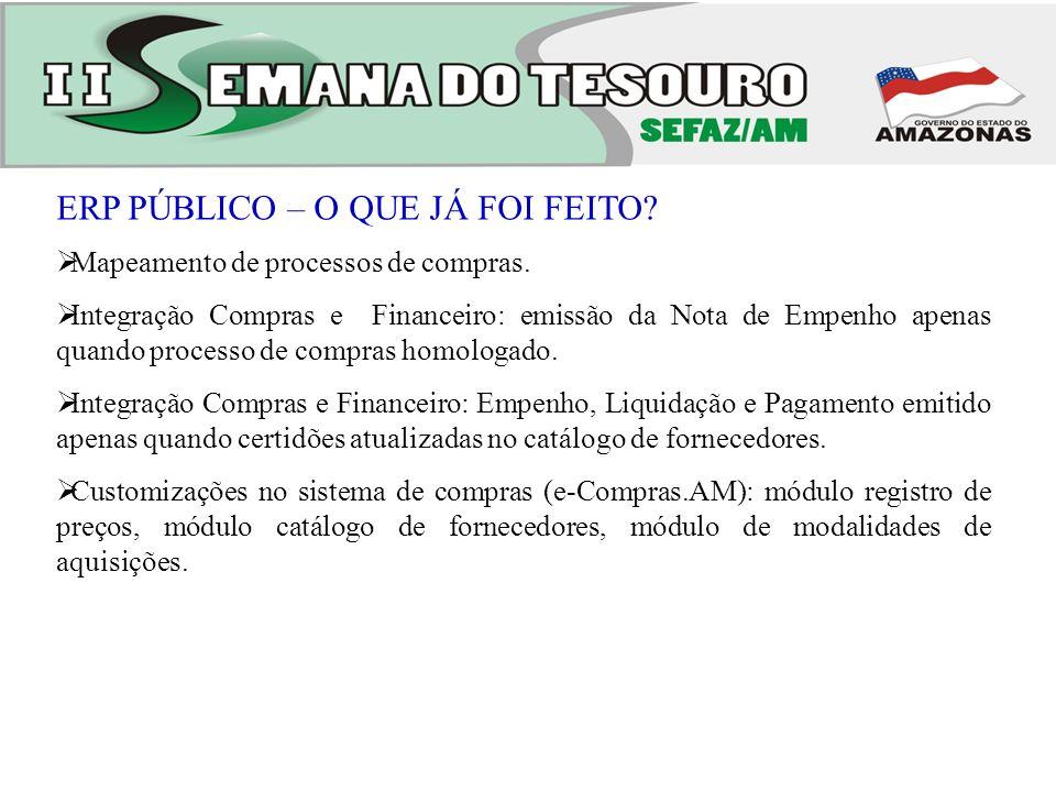 ERP PÚBLICO –ESTRATÉGICO Nova página web e-Compras.AM: mais atraente ao cliente (usuário e cidadão).