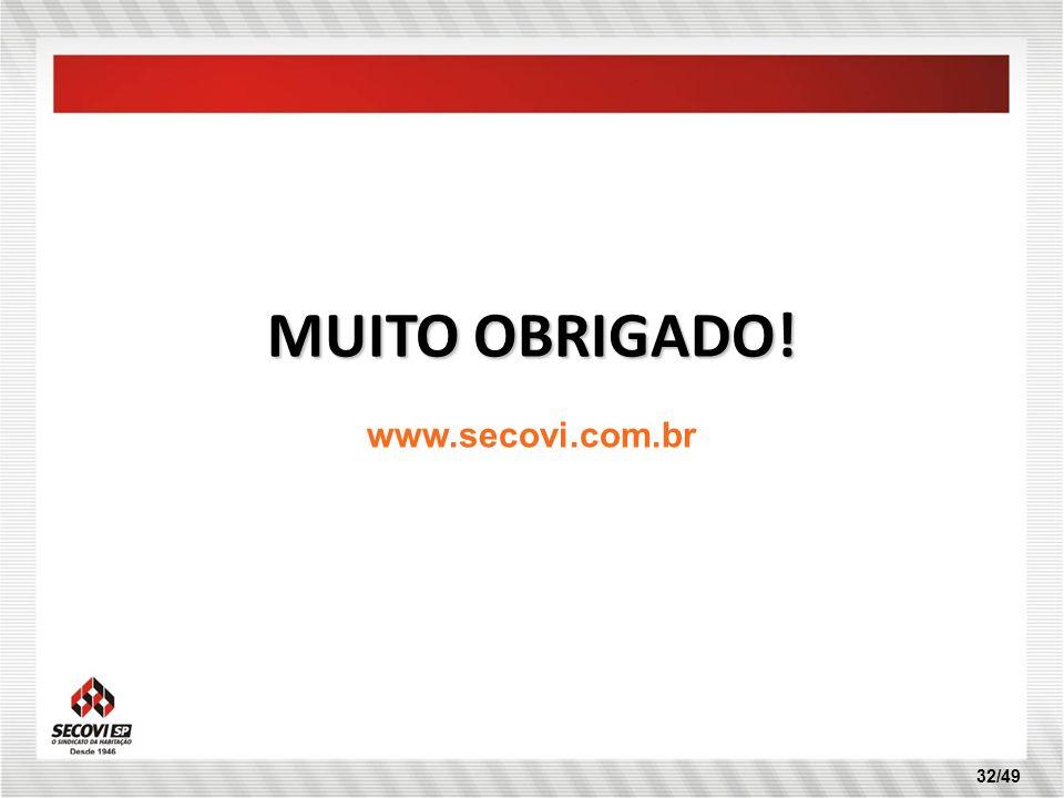 32/49 MUITO OBRIGADO! www.secovi.com.br