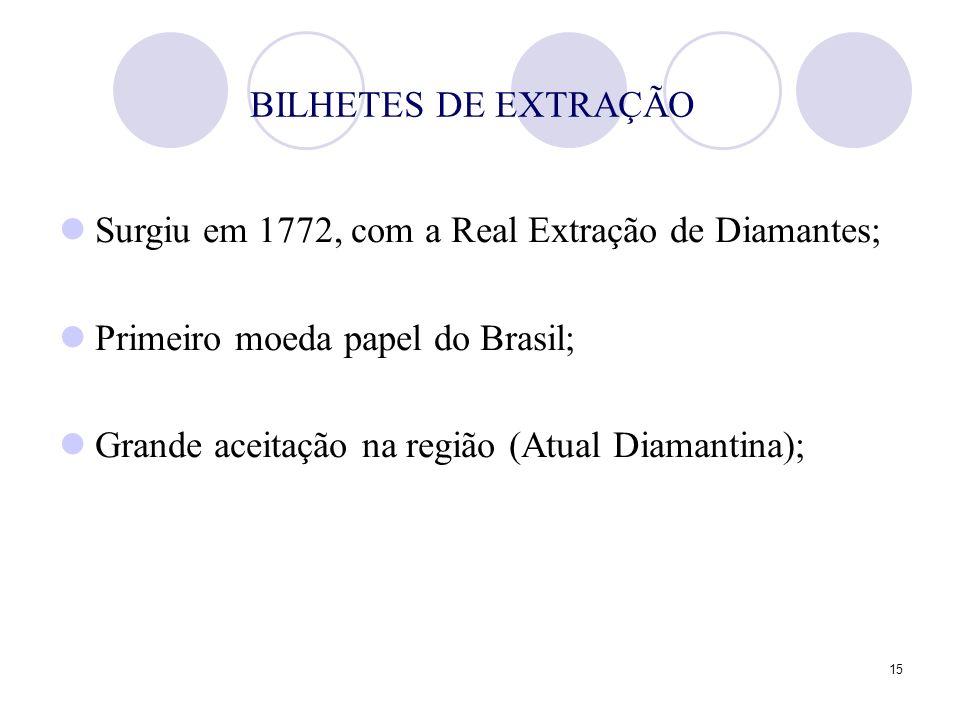 15 BILHETES DE EXTRAÇÃO Surgiu em 1772, com a Real Extração de Diamantes; Primeiro moeda papel do Brasil; Grande aceitação na região (Atual Diamantina