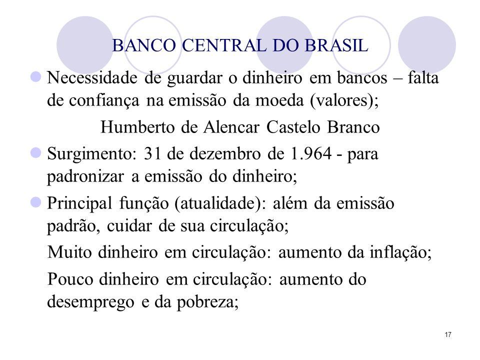 17 BANCO CENTRAL DO BRASIL Necessidade de guardar o dinheiro em bancos – falta de confiança na emissão da moeda (valores); Humberto de Alencar Castelo