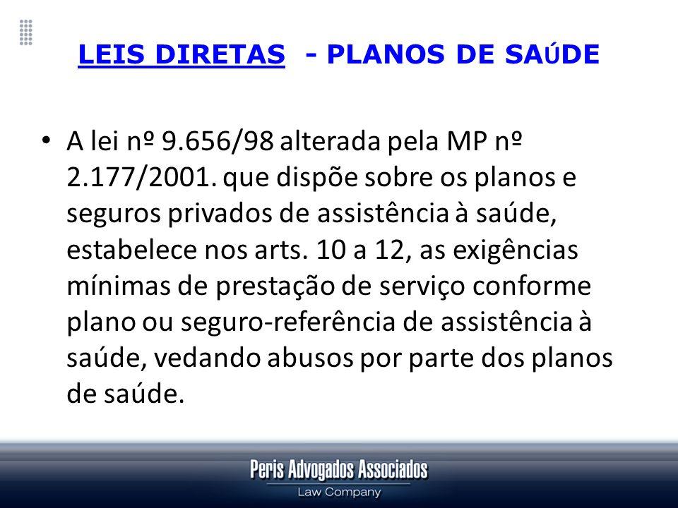 LEIS DIRETAS - PLANOS DE SA Ú DE A lei nº 9.656/98 alterada pela MP nº 2.177/2001. que dispõe sobre os planos e seguros privados de assistência à saúd