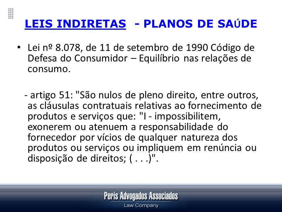 LEIS INDIRETAS - PLANOS DE SA Ú DE Lei nº 8.078, de 11 de setembro de 1990 Código de Defesa do Consumidor – Equilíbrio nas relações de consumo. - arti
