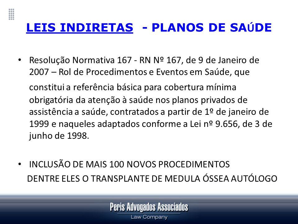 LEIS INDIRETAS - PLANOS DE SA Ú DE Resolução Normativa 167 - RN Nº 167, de 9 de Janeiro de 2007 – Rol de Procedimentos e Eventos em Saúde, que constit