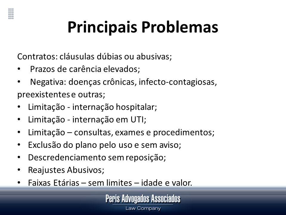 Principais Problemas Contratos: cláusulas dúbias ou abusivas; Prazos de carência elevados; Negativa: doenças crônicas, infecto-contagiosas, preexisten