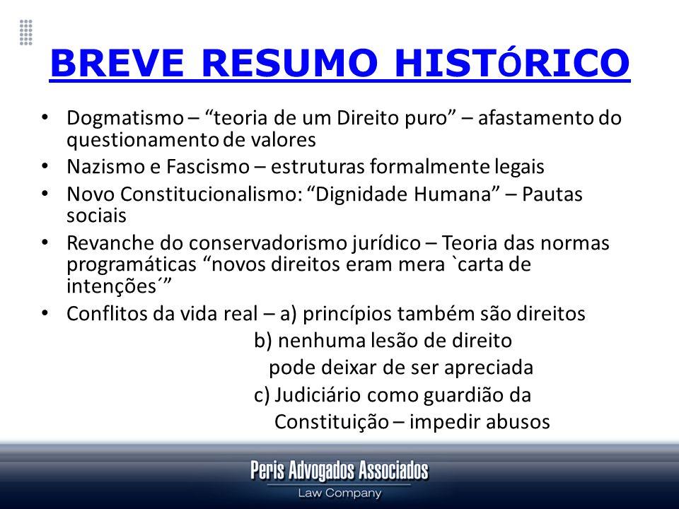 BREVE RESUMO HIST Ó RICO Dogmatismo – teoria de um Direito puro – afastamento do questionamento de valores Nazismo e Fascismo – estruturas formalmente