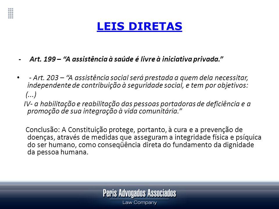 LEIS DIRETAS - Art. 199 – A assistência à saúde é livre à iniciativa privada. - Art. 203 – A assistência social será prestada a quem dela necessitar,