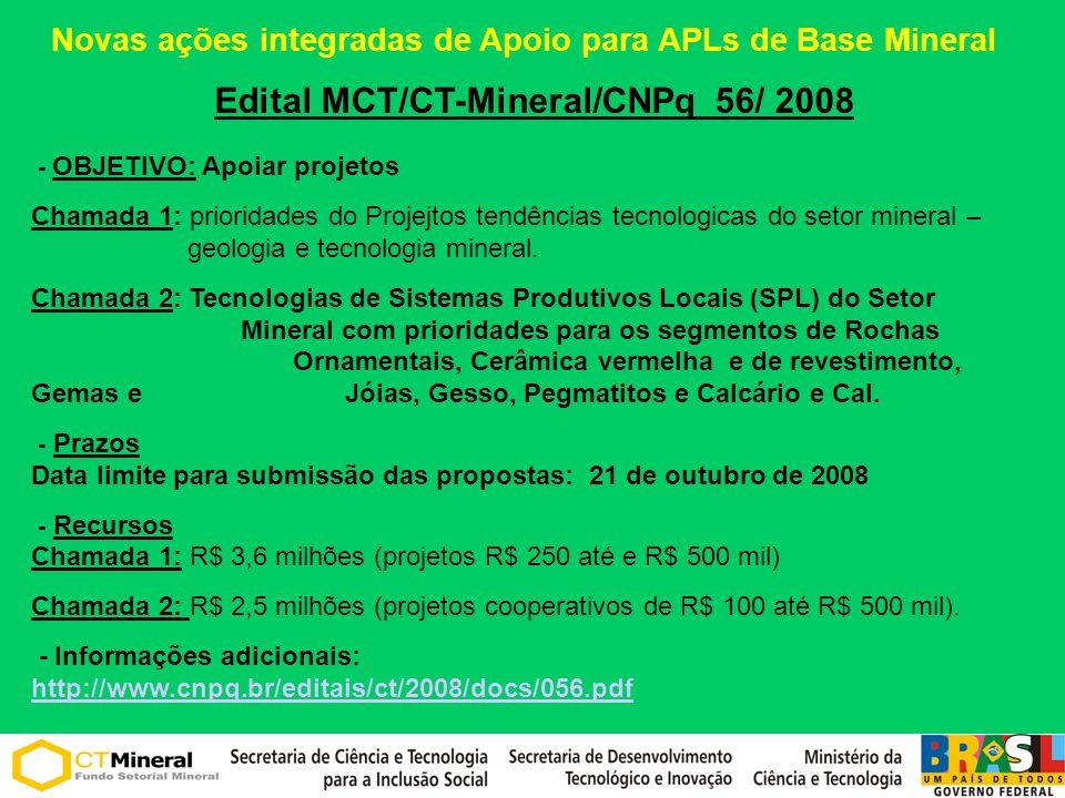 Edital MCT/CT-Mineral/CNPq 56/ 2008 - OBJETIVO: Apoiar projetos Chamada 1: prioridades do Projejtos tendências tecnologicas do setor mineral – geologia e tecnologia mineral.