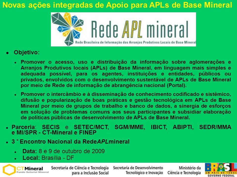 Objetivo: Promover o acesso, uso e distribuição da informação sobre aglomerações e Arranjos Produtivos locais (APLs) de Base Mineral, em linguagem mai