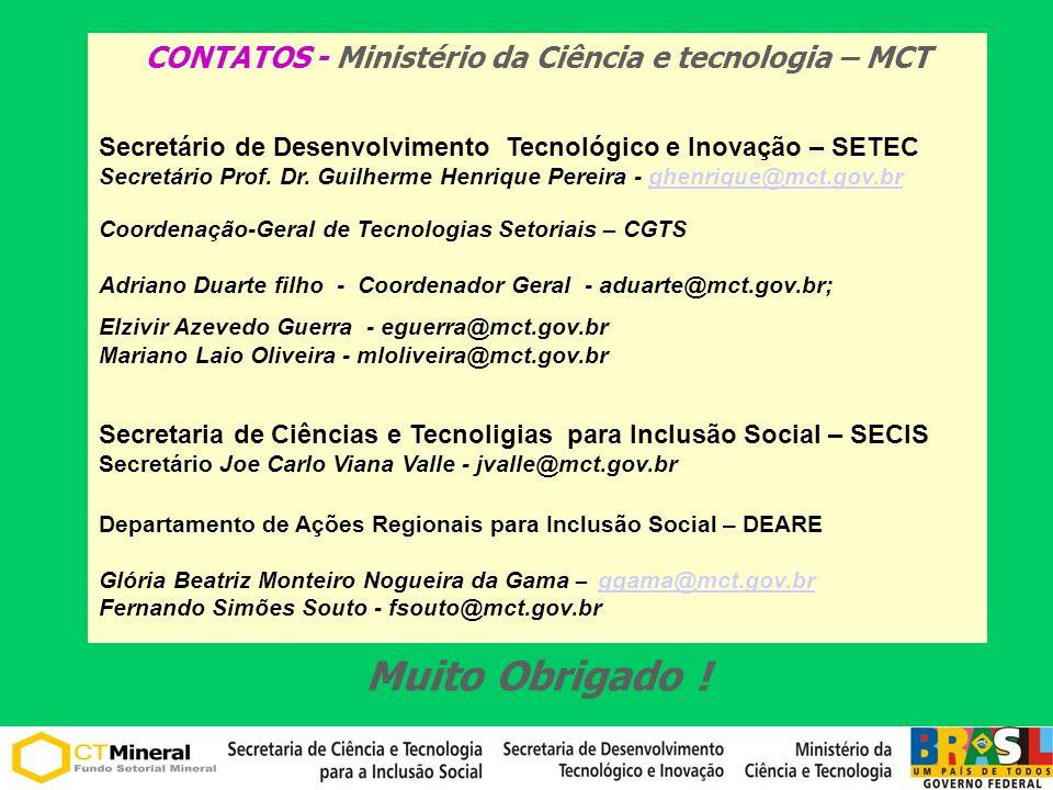 CONTATOS - Ministério da Ciência e tecnologia – MCT Secretário de Desenvolvimento Tecnológico e Inovação – SETEC Secretário Prof. Dr. Guilherme Henriq