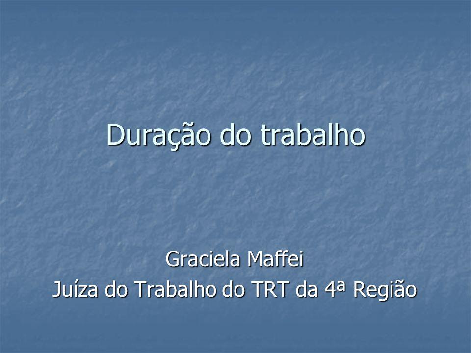 Duração do trabalho Graciela Maffei Juíza do Trabalho do TRT da 4ª Região