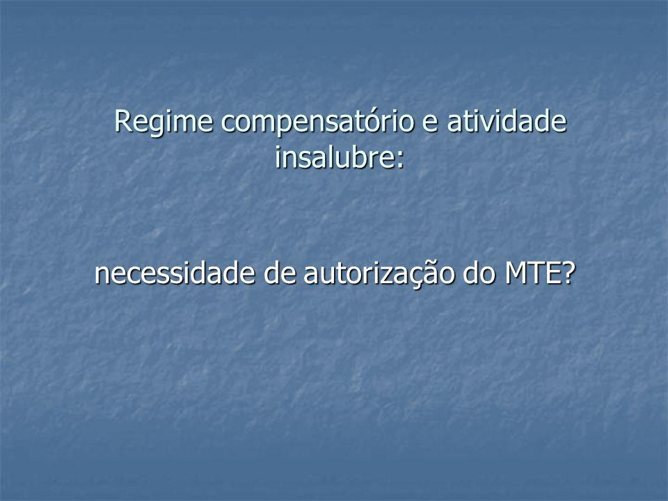 Regime compensatório e atividade insalubre: necessidade de autorização do MTE?