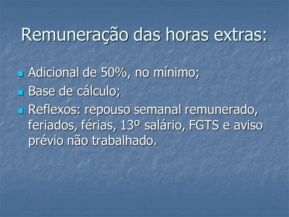 Remuneração das horas extras: Adicional de 50%, no mínimo; Adicional de 50%, no mínimo; Base de cálculo; Base de cálculo; Reflexos: repouso semanal re