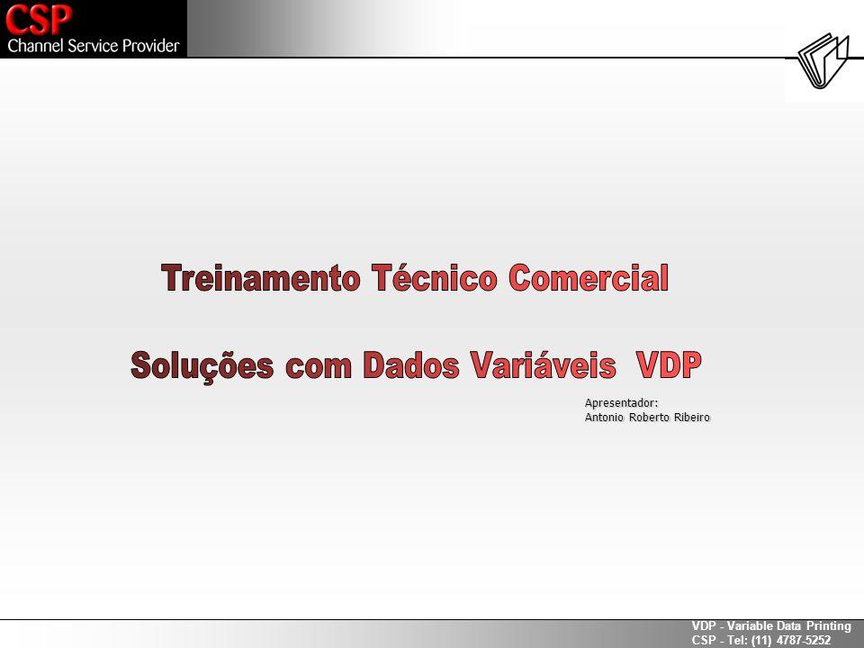 VDP - Variable Data Printing CSP - Tel: (11) 4787-5252 São cinco os tipos mais comuns: Line PrinterLine Printer ASCII PrinterASCII Printer IBM Channel SkipIBM Channel Skip Comma Separated Values (CSV)Comma Separated Values (CSV) DatabaseDatabase Os formatos de massas de dados – Buscando soluções Exemplos de mercado: O conhecimento avançado dos itens acima ajudam na qualificação da oportunidade com maior rapidez e eficácia..