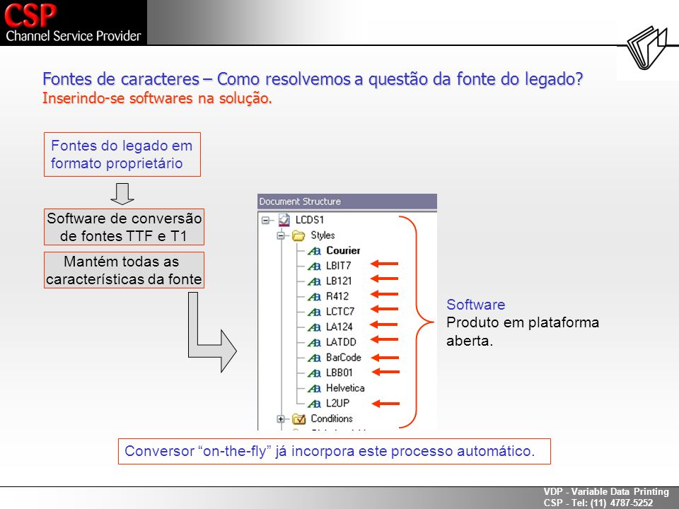 VDP - Variable Data Printing CSP - Tel: (11) 4787-5252 Fontes de caracteres – Como resolvemos a questão da fonte do legado? Inserindo-se softwares na