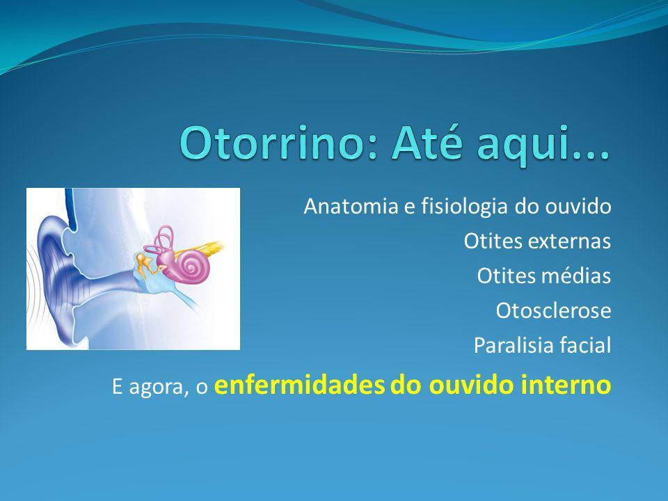 Anatomia e fisiologia do ouvido Otites externas Otites médias Otosclerose Paralisia facial E agora, o enfermidades do ouvido interno
