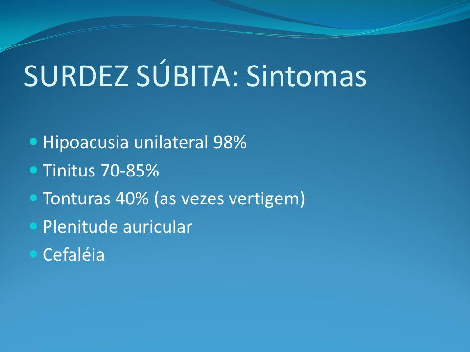 SURDEZ SÚBITA: Sintomas Hipoacusia unilateral 98% Tinitus 70-85% Tonturas 40% (as vezes vertigem) Plenitude auricular Cefaléia