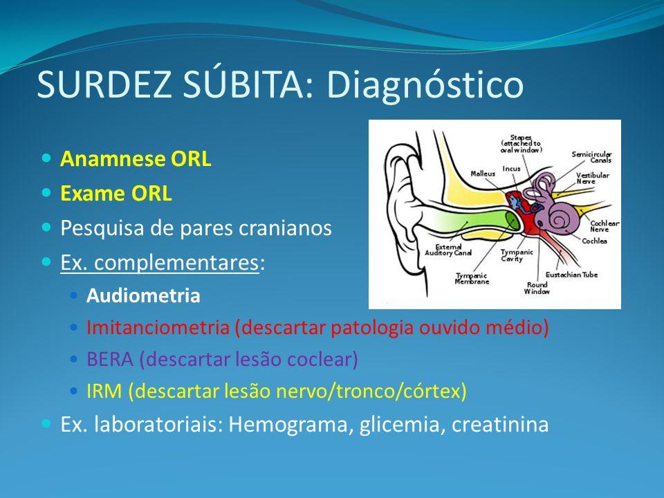SURDEZ SÚBITA: Diagnóstico Anamnese ORL Exame ORL Pesquisa de pares cranianos Ex. complementares: Audiometria Imitanciometria (descartar patologia ouv