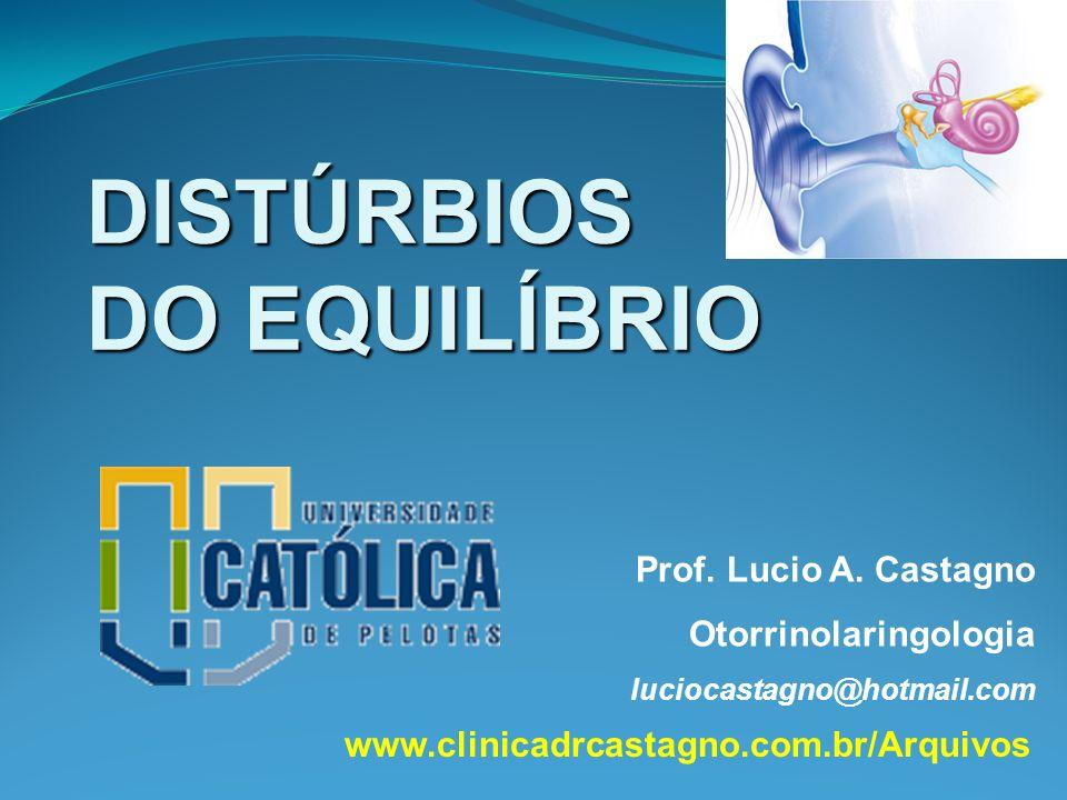 DISTÚRBIOS DO EQUILÍBRIO Prof. Lucio A. Castagno Otorrinolaringologia luciocastagno@hotmail.com www.clinicadrcastagno.com.br/Arquivos