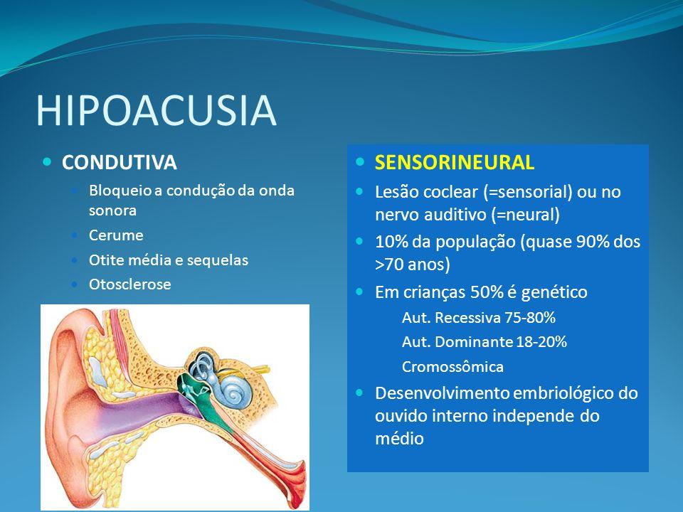 HIPOACUSIA CONDUTIVA Bloqueio a condução da onda sonora Cerume Otite média e sequelas Otosclerose SENSORINEURAL Lesão coclear (=sensorial) ou no nervo