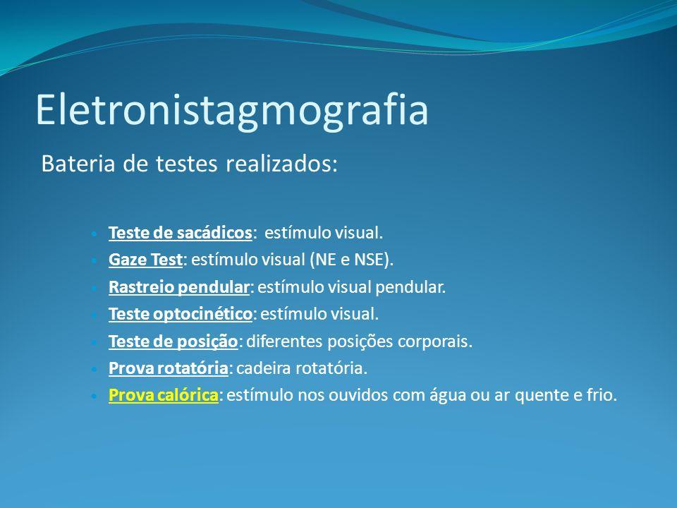 Eletronistagmografia Bateria de testes realizados: Teste de sacádicos: estímulo visual. Gaze Test: estímulo visual (NE e NSE). Rastreio pendular: estí