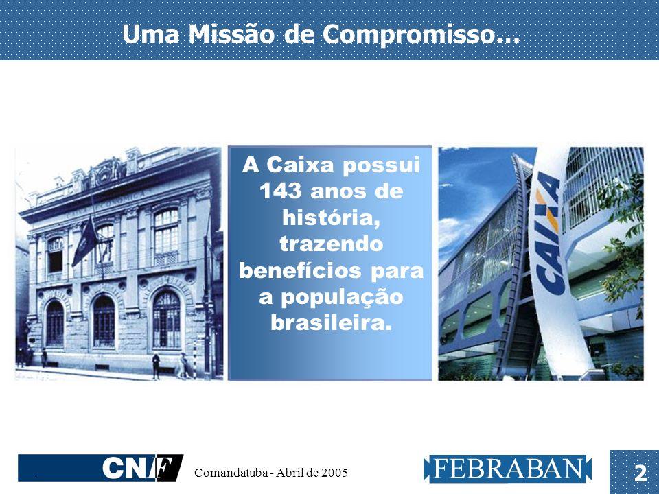 . Comandatuba - Abril de 2005 2 Uma Missão de Compromisso… A Caixa possui 143 anos de história, trazendo benefícios para a população brasileira.