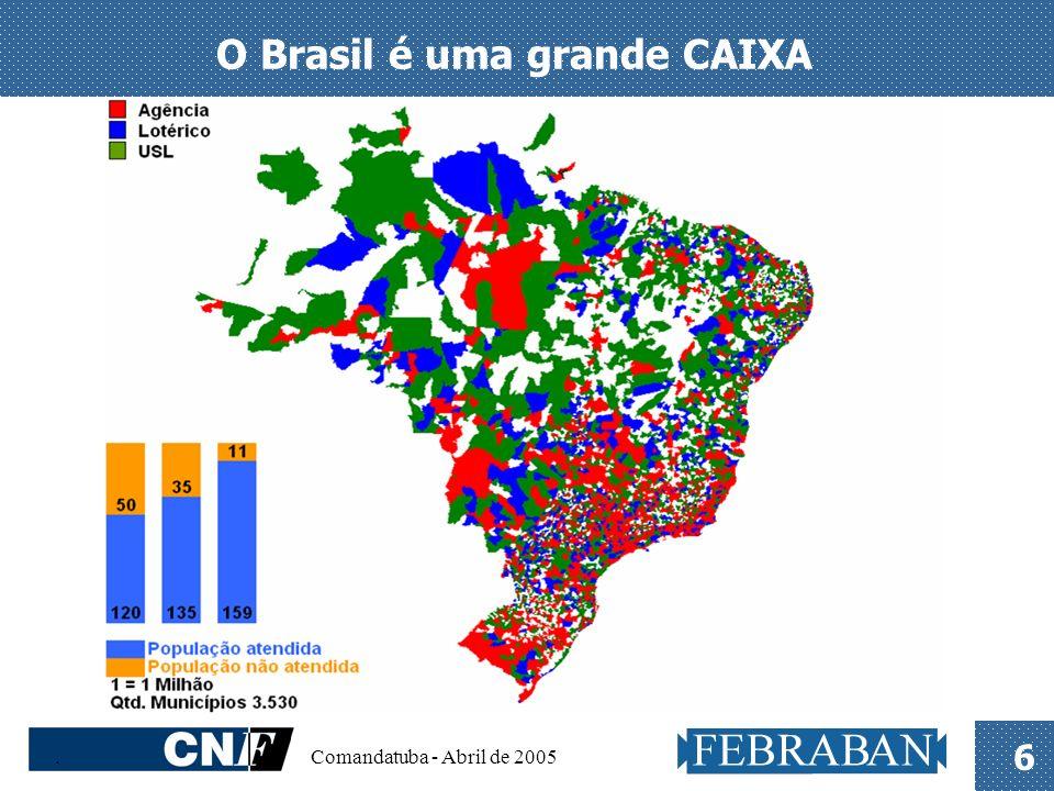 . Comandatuba - Abril de 2005 7 O Brasil é uma grande CAIXA O menor município em que a CAIXA está presente é Serra Nova Dourada/MT, com 562 habitantes.